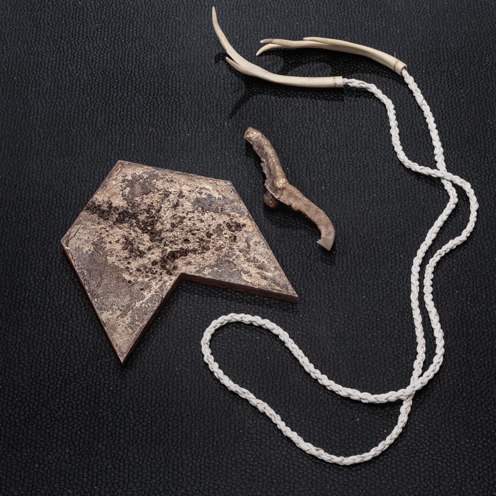 "Jeneen Frei Njootli LUX | MAM III, 2017 Bronze, Bleached Caribou Antler Plastic, Leather 48"" L x 35.7 H x 3"" W Photo Credit: Barb Choit"