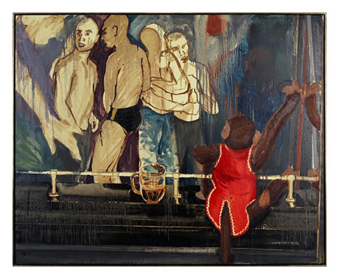 "Attila Richard Lukacs painting, We're living in a light, 2017, latex, oil, enamel on linen, 49""H X 61.2""L"