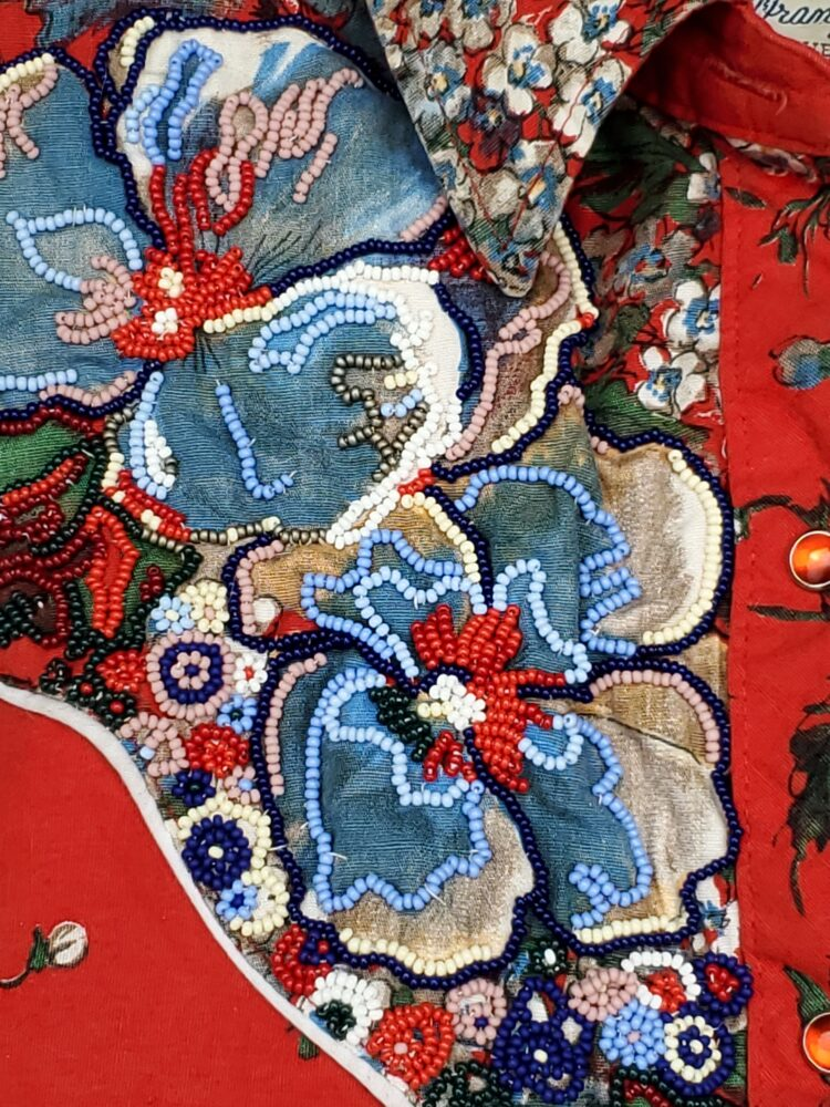 "You're Not Even Metis, You're The Love Child of Ricky Van Shelton, 2020 Cotton blouse, seed beads 31 x 21 x 41.5"" (detail)"