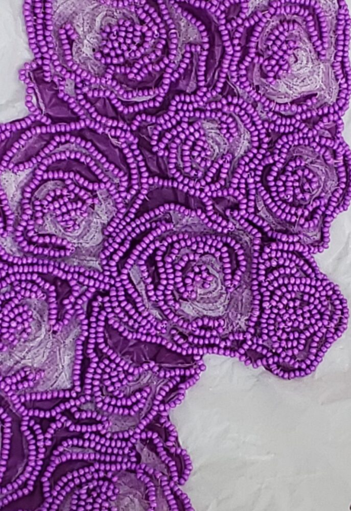 """Look Under The Sink, 2020 Plastic bag, seed beads 23 x 14 x 7""""(detail)"""