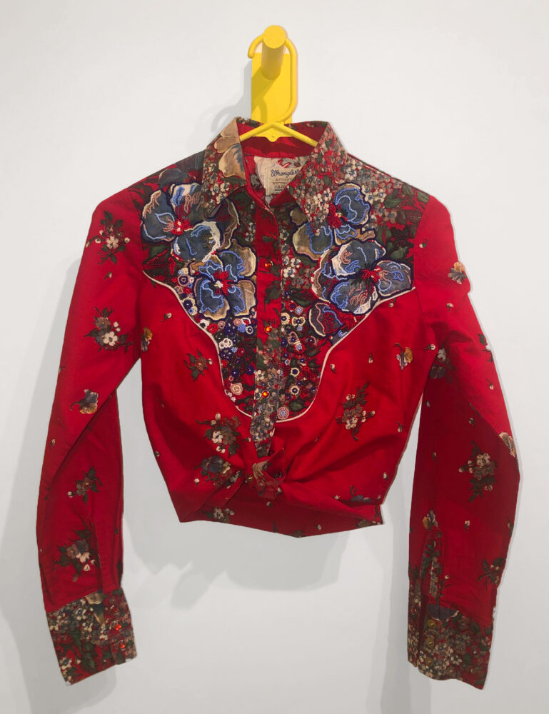"""You're Not Even Metis, You're The Love Child of Ricky Van Shelton, 2020 Cotton blouse, seed beads 31 x 21 x 41.5"""""""