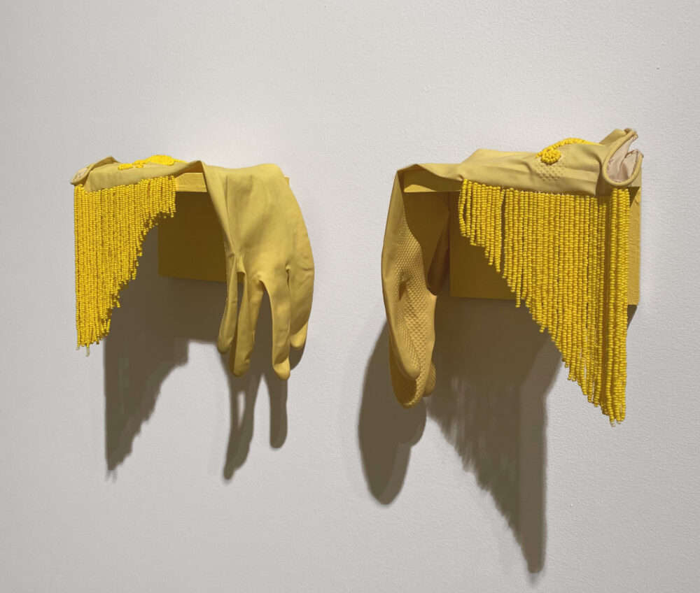 Go Help Grandma With The Dishes, 2020 Rubber gloves, seed beads, fringe Dimensions Variable