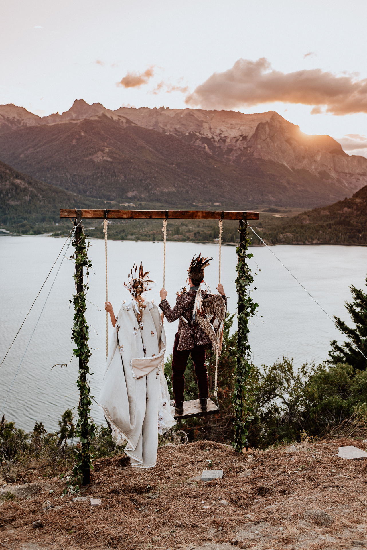 casamiento en hamacas en la montaña bariloche