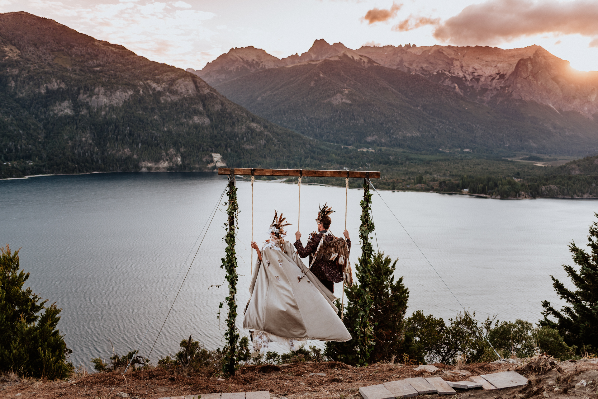 wedding in the mountains in hammocks in patagonia