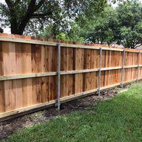 cedar fence metal posts