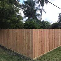cedar fence on baseboard