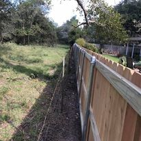 cedar fence on metal posts