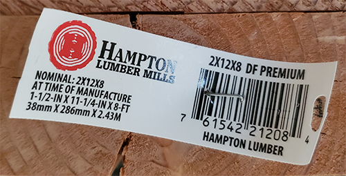 Lumber tag.  Here you can see the dimensions of the piece of lumber selected to be used for shelf making.