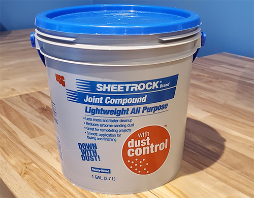 Here is the brand of joint compound I used to patch holes in the fish room.  I enjoyed the consistence of the product.  It was easy to work with.