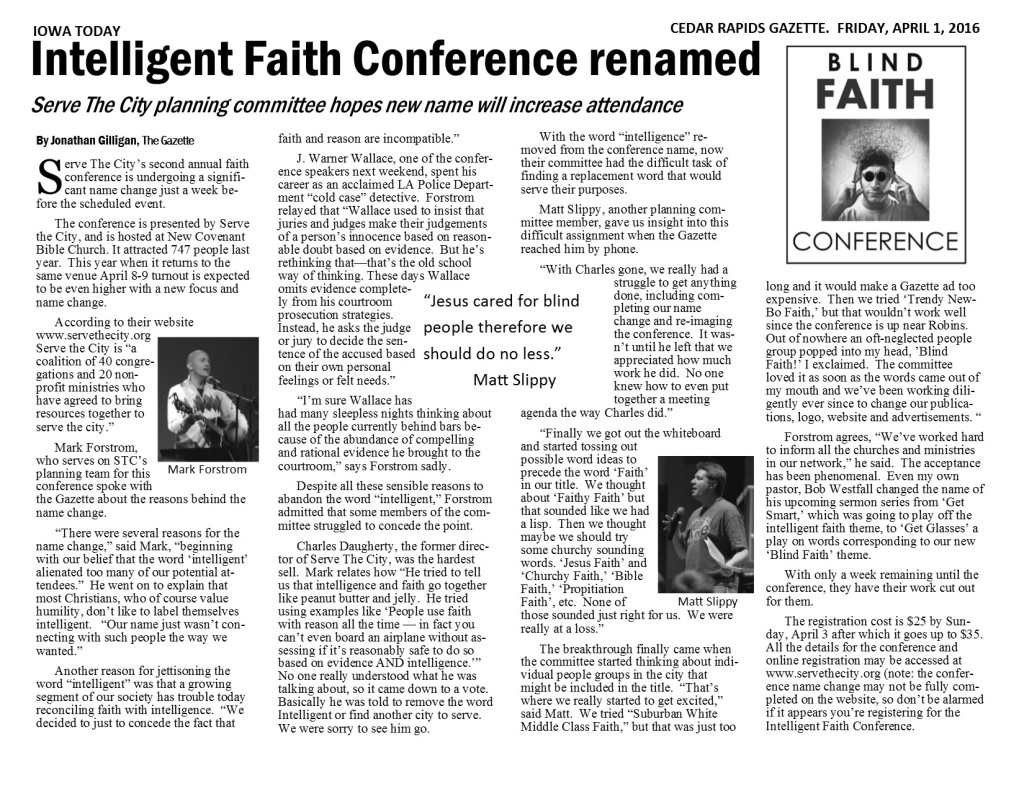 Blind Faith Gazette article