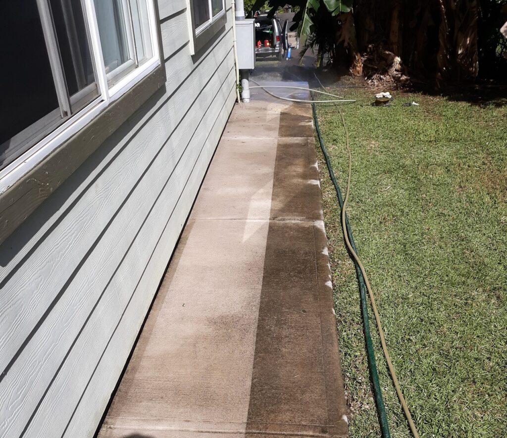 sidewalk hose grass house
