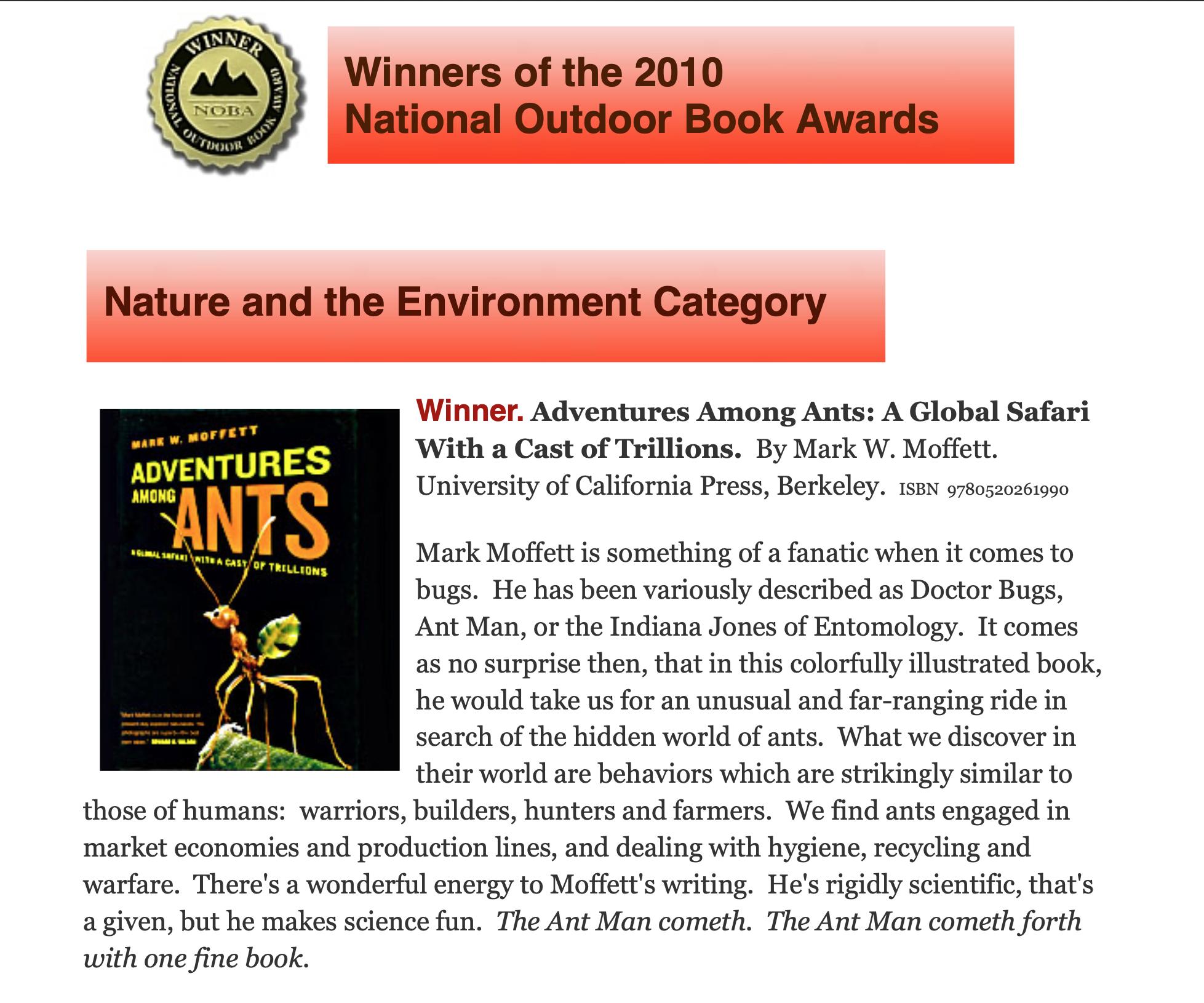 Outdoor Book Award copy
