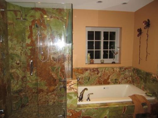 Traditional Dramatic Bathroom Design, Green Onyx