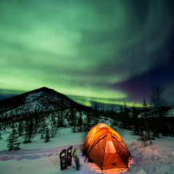 Snowshoeing & Camping with Northern Lights