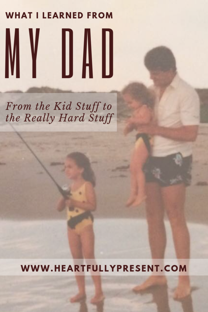 Lessons I Learned from my Dad | Dad on beach with daughters