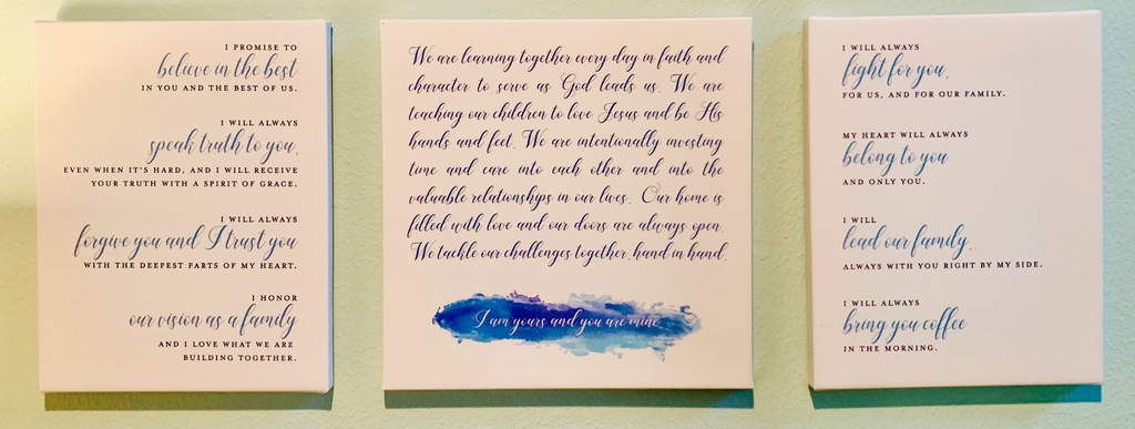 wedding vows | vow renewal | vows on canvas