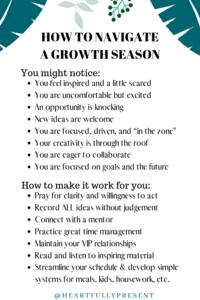 Seasons change | Season of growth | Quick tips for navigating a growth season