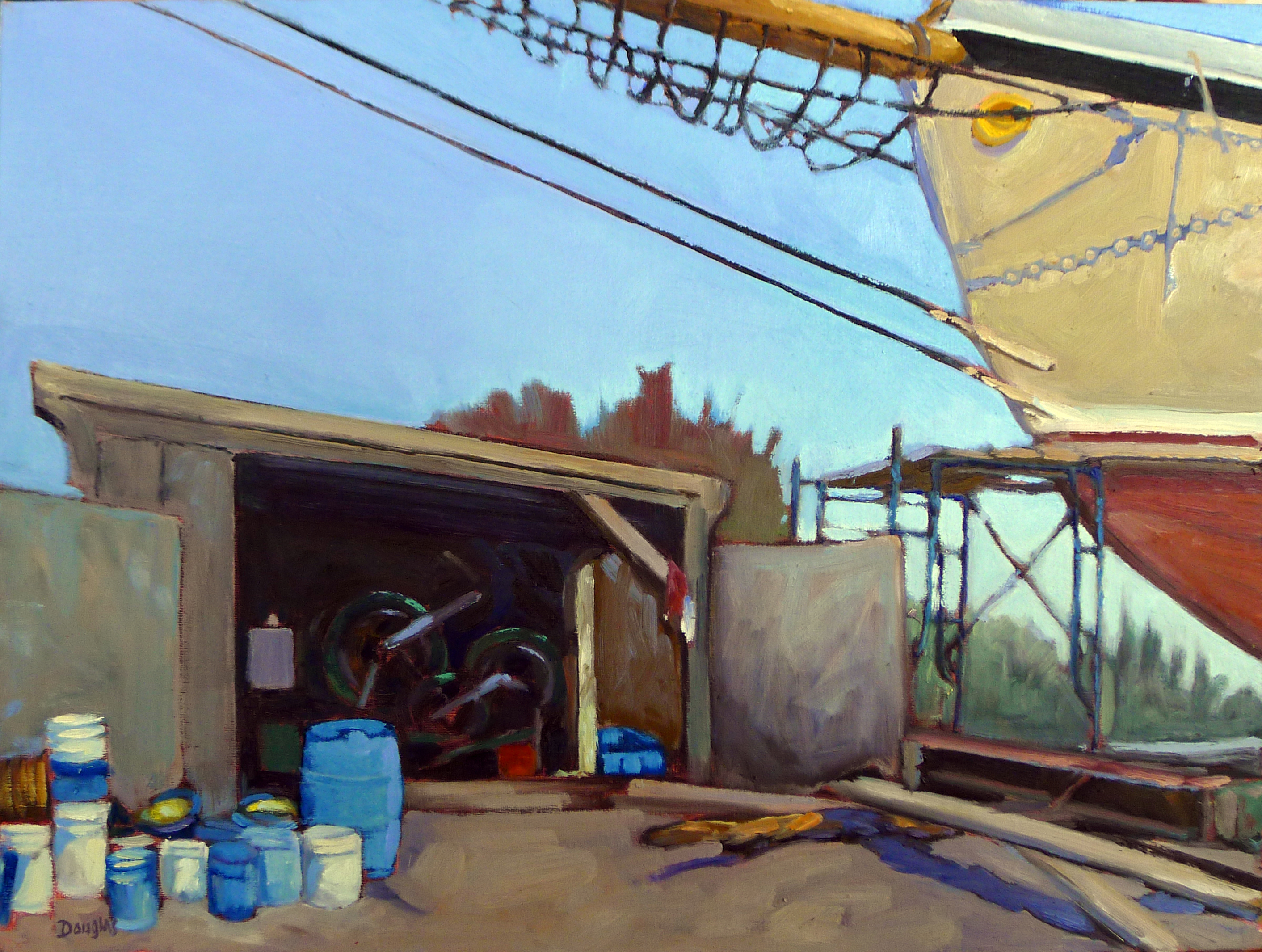 """American Eagle in Dry Dock,"" plein air, 12X16, oil on canvasboard, available."