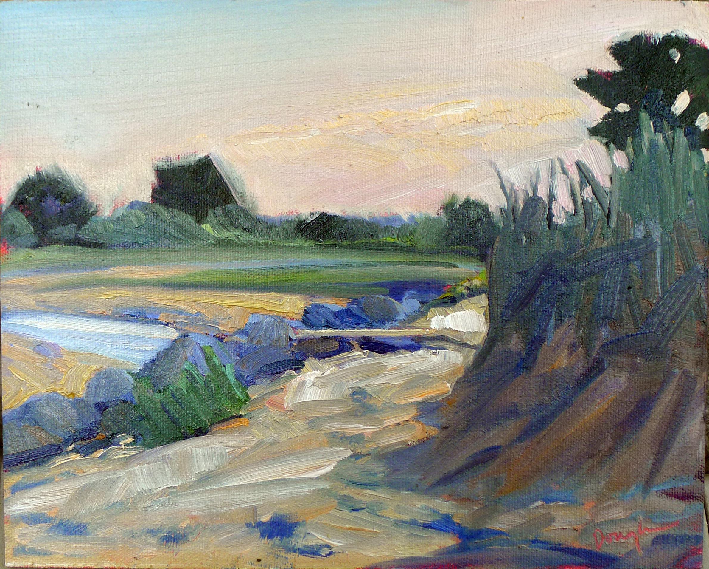 """""""Ocean Park Beach,"""" oil on canvasboard, available."""