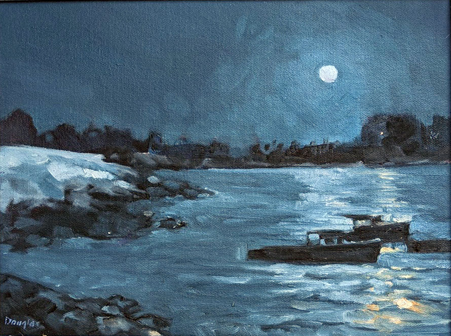 Nighttime at Clam Cove, 9X12, oil on canvasboard, $696 unframed.