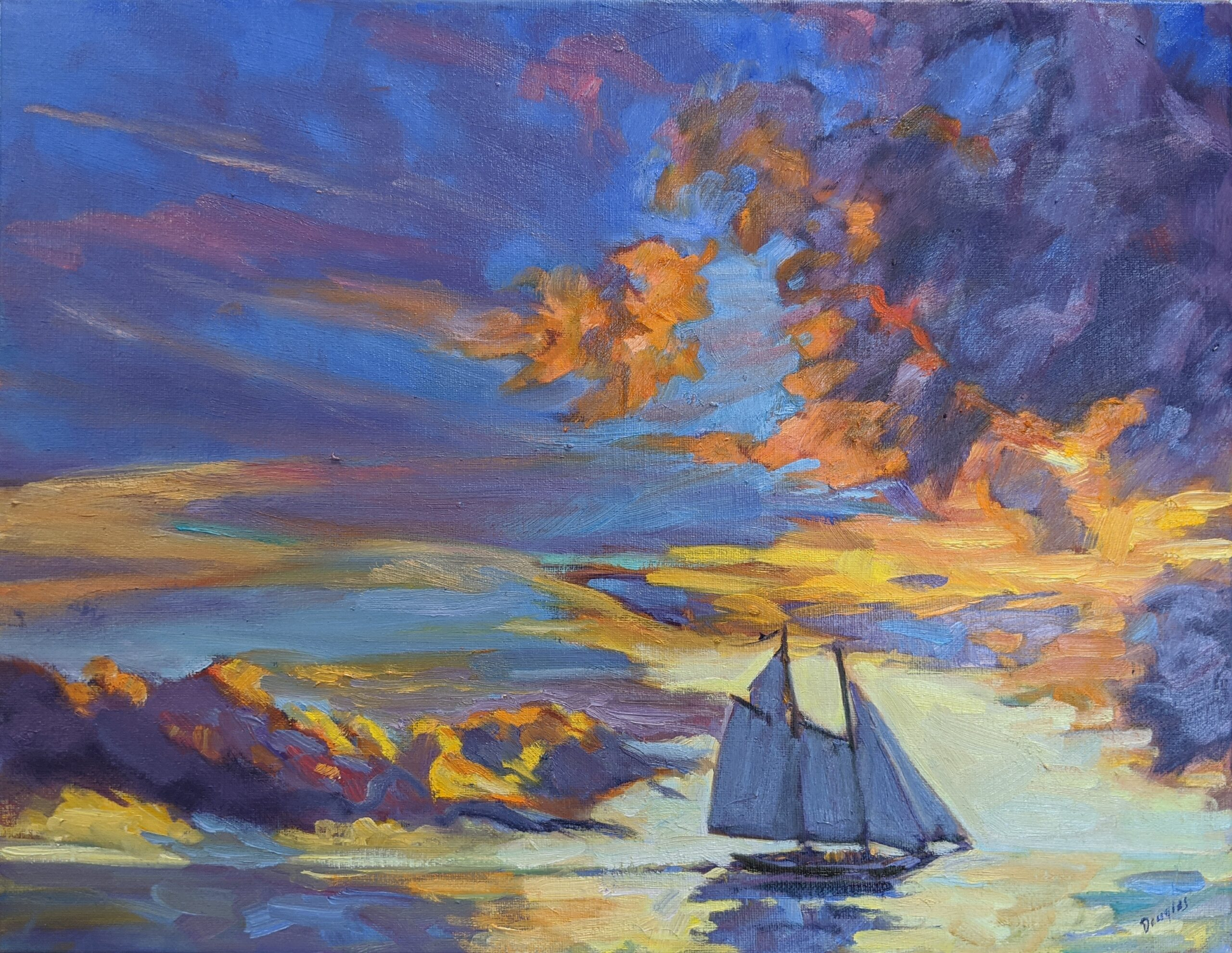 Sunset Sail, available through Folly Cove Fine Art, Rockport, MA