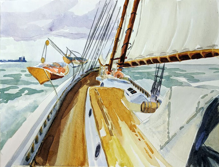 Watercolor of schooner American Eagle, by Carol L. Douglas