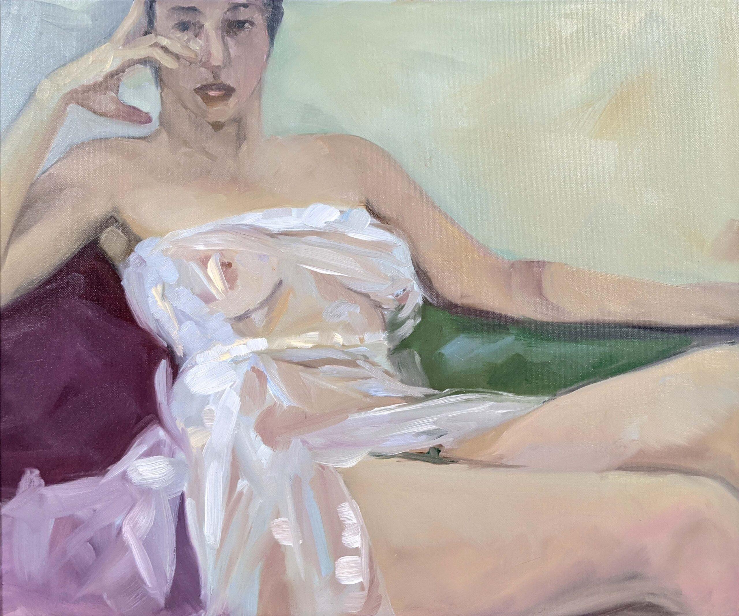 """Saran Wrap Cynic,"" oil on canvas, available through Rye Arts Center."