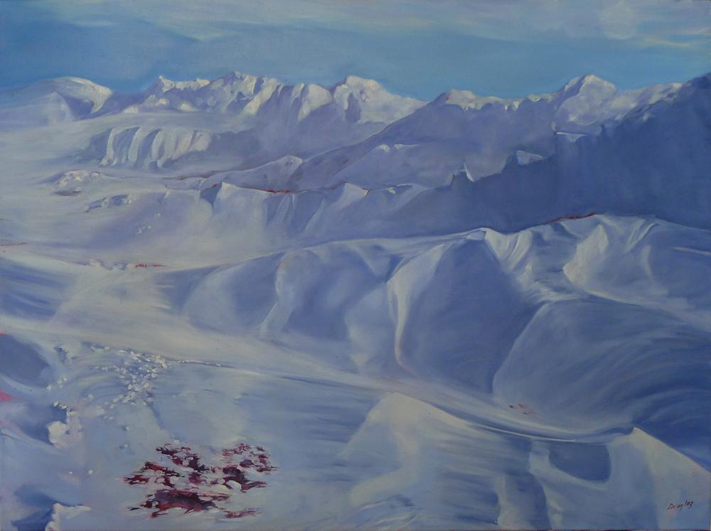 """""""Winter Lambing,"""" 48X36, oil on linen, $6231 framed."""