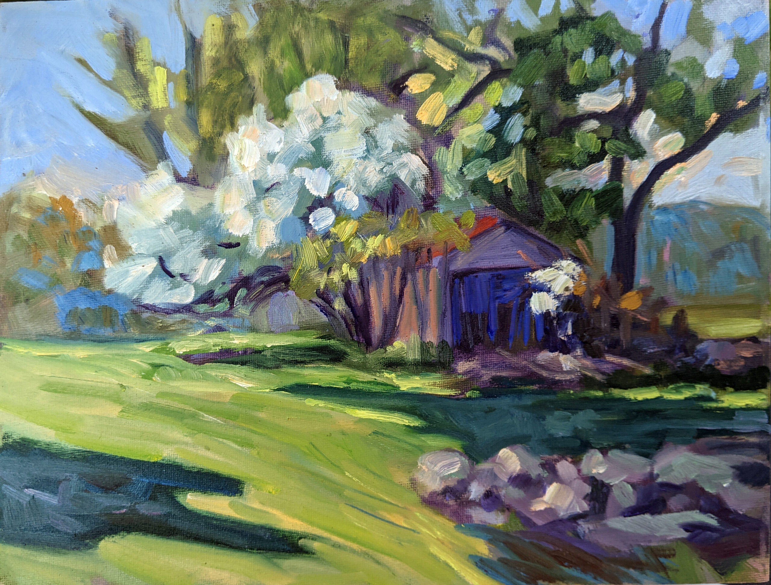 """""""Apple Blossom Time,"""" 9x12, oil on canvasboard,   $696 unframed."""