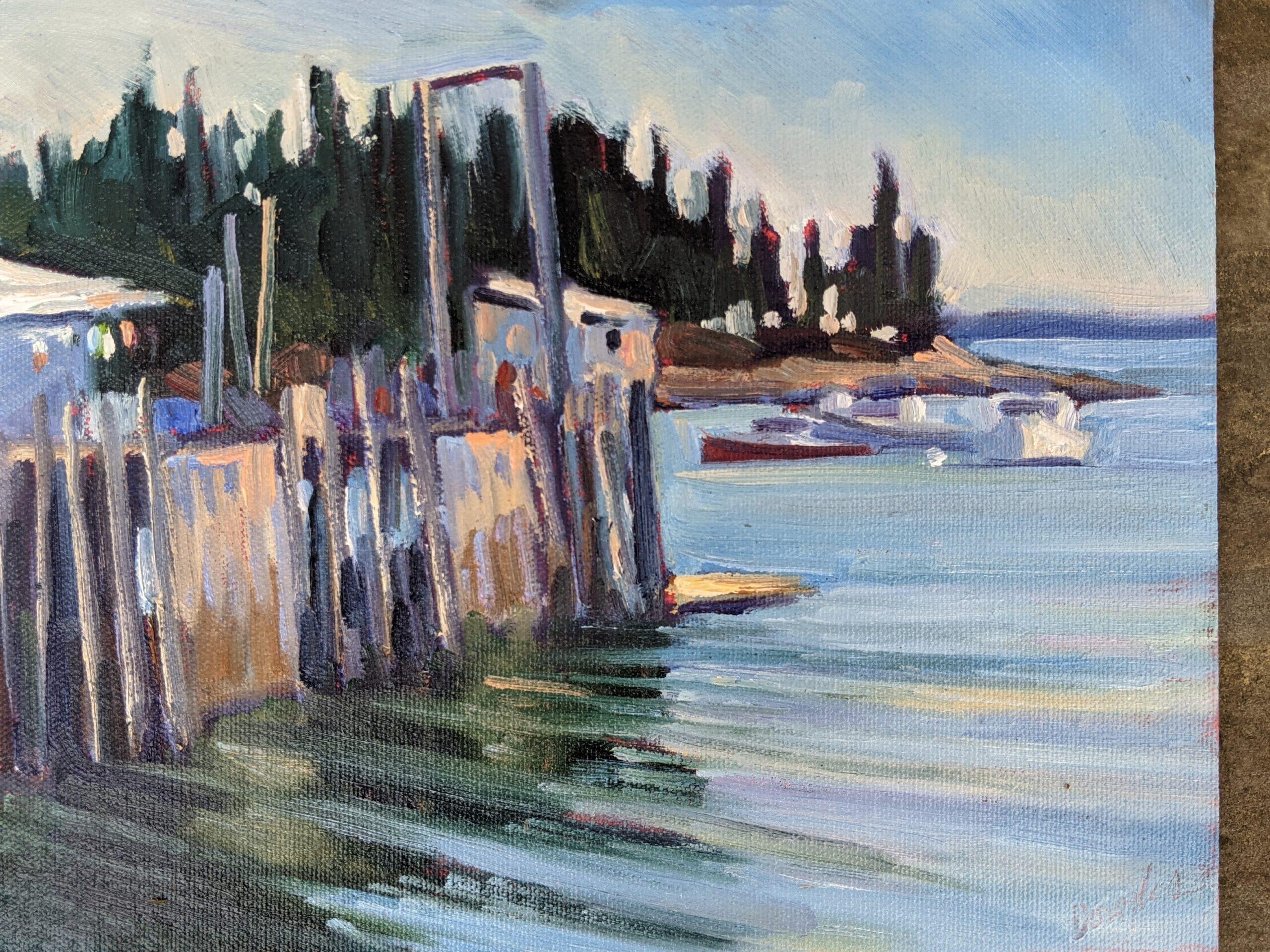 """""""Owls Head Fishing Dock,"""" oil on canvasboard, 8X10, $652 framed."""
