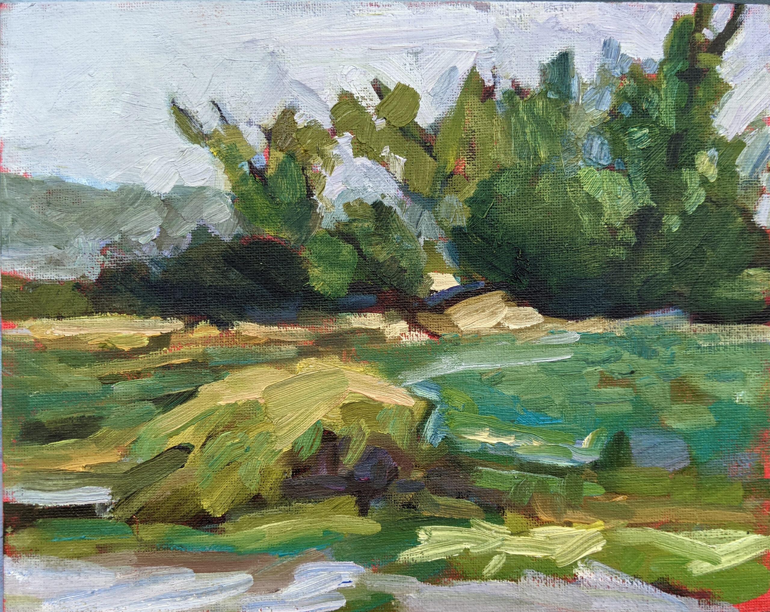 """Spring Greens,"" 8X10, oil on canvasboard,   $522 unframed."
