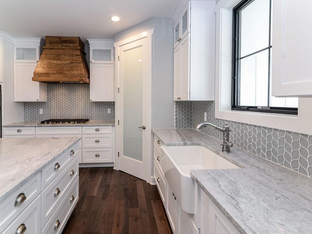 Ann Arbor Farm House, Modern Farm, Distressed Range Hood, Quartz Counter Tops