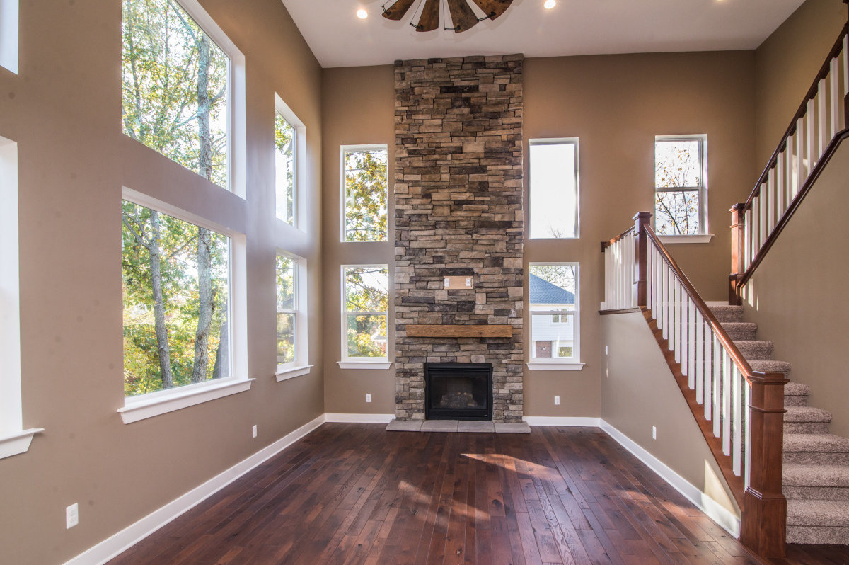 Two Story Custom Craftsman - Living Room and Fire Place