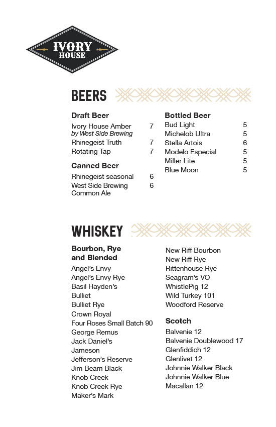Ivory house cincinnati westwood town hall district steak craft cocktails wine beer fine dining whiskey