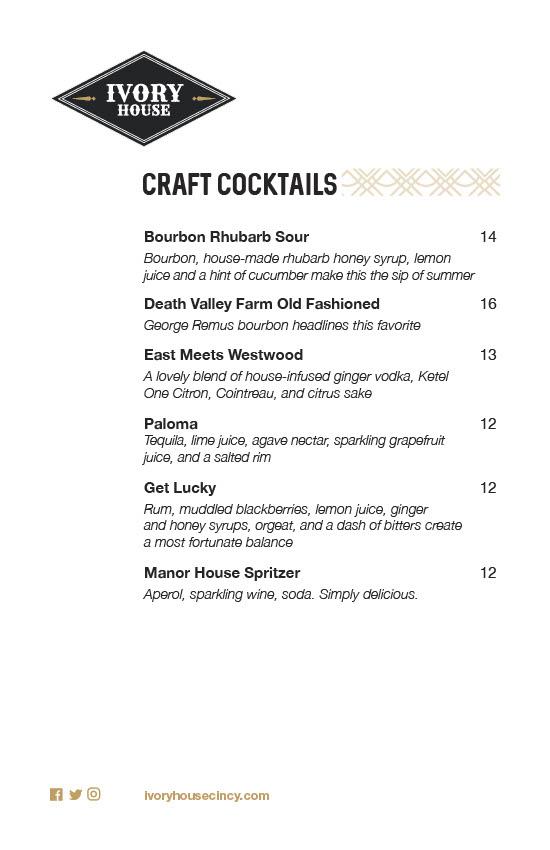 Ivory house cincinnati westwood town hall district steak craft cocktails wine beer fine dining