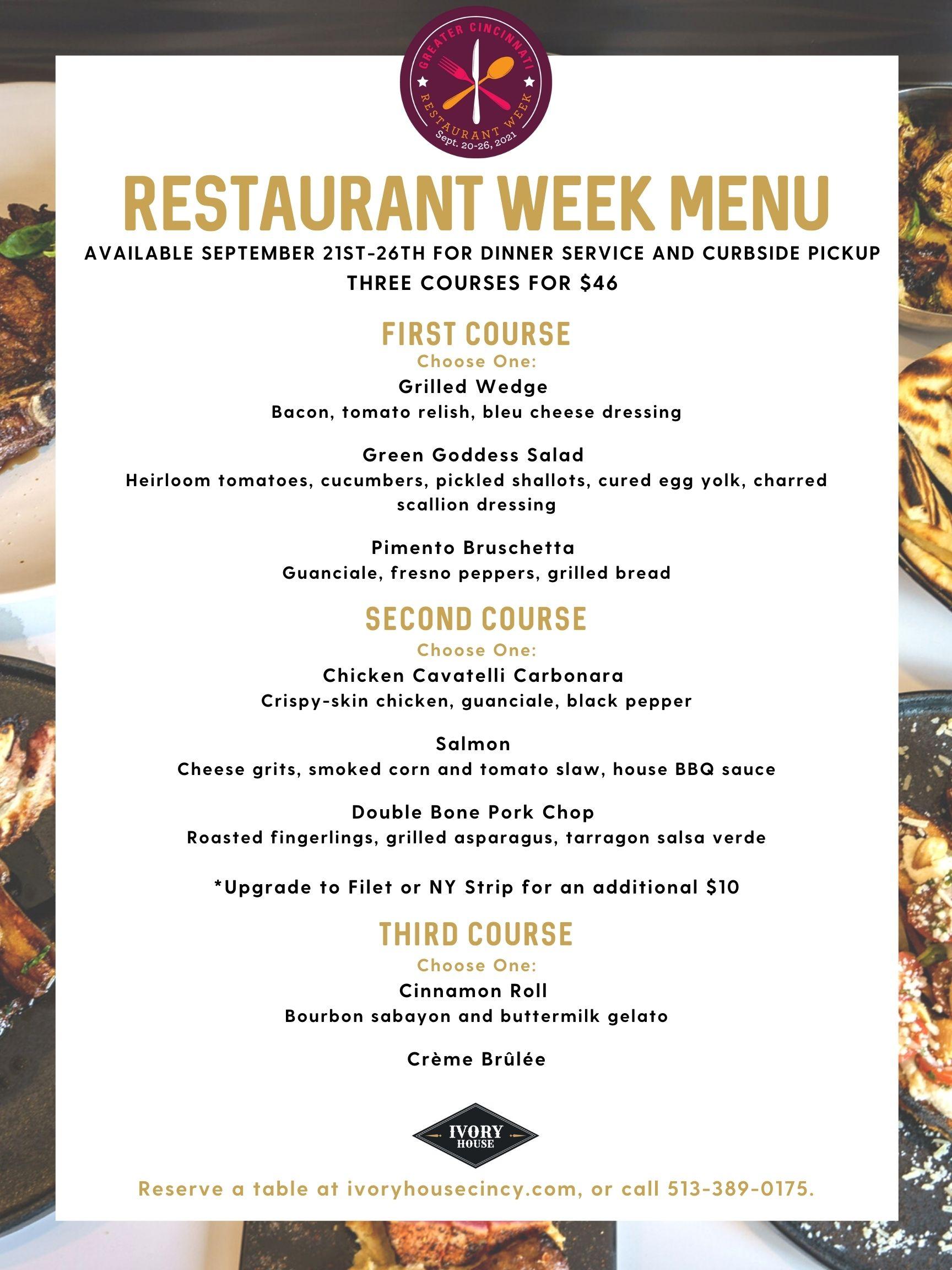 ivory house cincinnati westwood restaurant week menu fall 2021 steak filet mignon