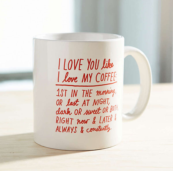 Urban Outfitters ADAMJK X UO I Love You Like I Love My Coffee Mug