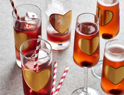 Willams Sonoma Valentines Day Gold Heart Champagne Flutes