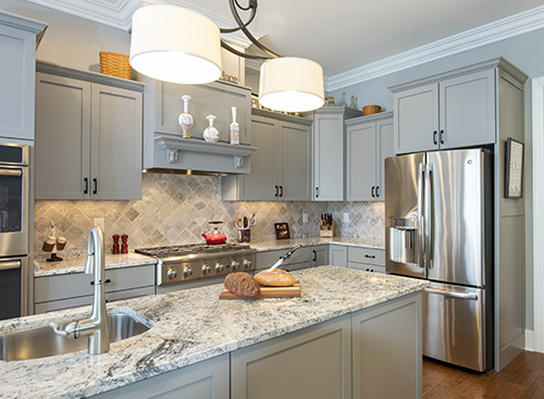 Kitchen with large island and sink
