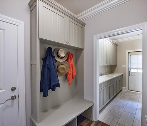 Mudroom with custom built storage