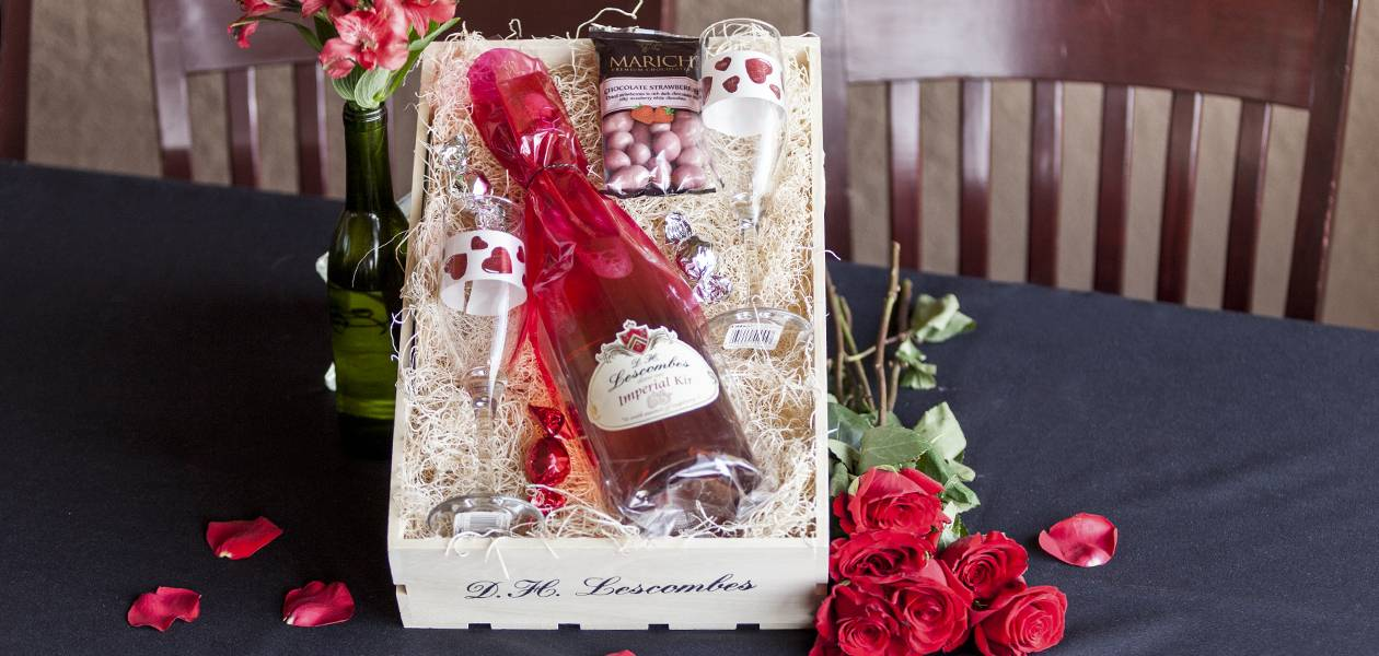 A Valentine's Day gift basket put together by St. Clair Winery & Bistro.