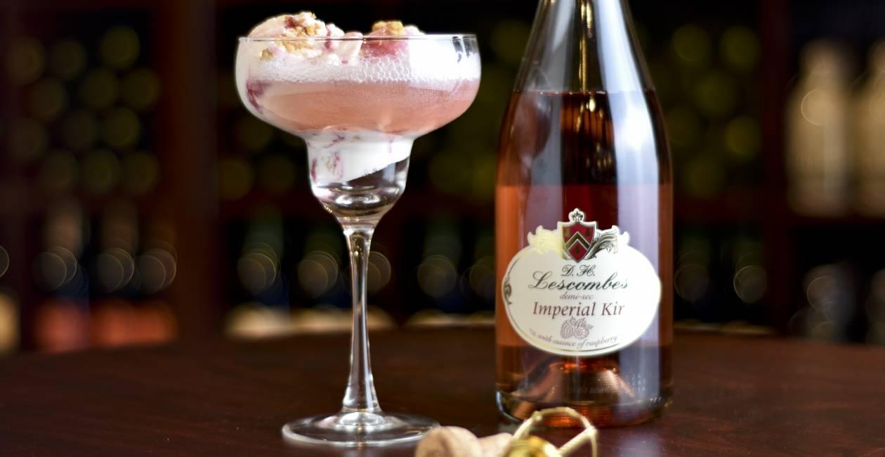 D.H. Lescombes Imperial Kir Raspberry Sorbet Float