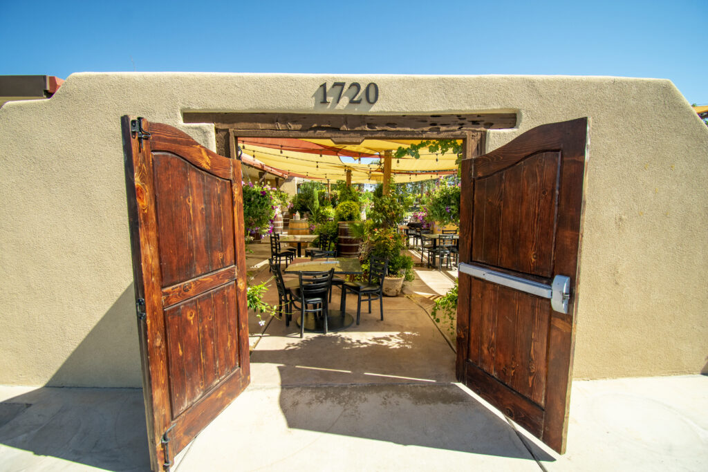 entrance to our D.H. Lescombes Winery & Bistro patio dining area in Las Cruces