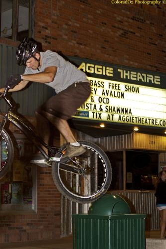 Pro Trials rider Robbie Pfunder outside of The Aggie.