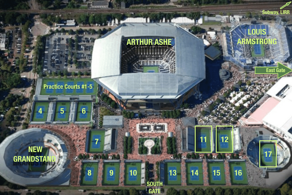 The US Tennis Grounds is fairly compact. So Jumping between courts is easy.
