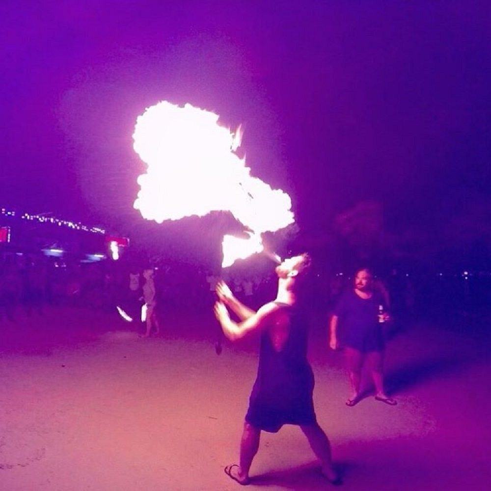 By the end of the night, drunk partiers were joining in with the fireshows