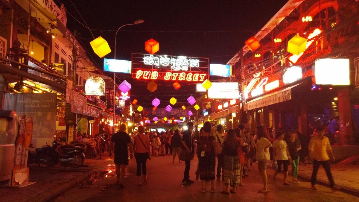 Neon lined Pub Street