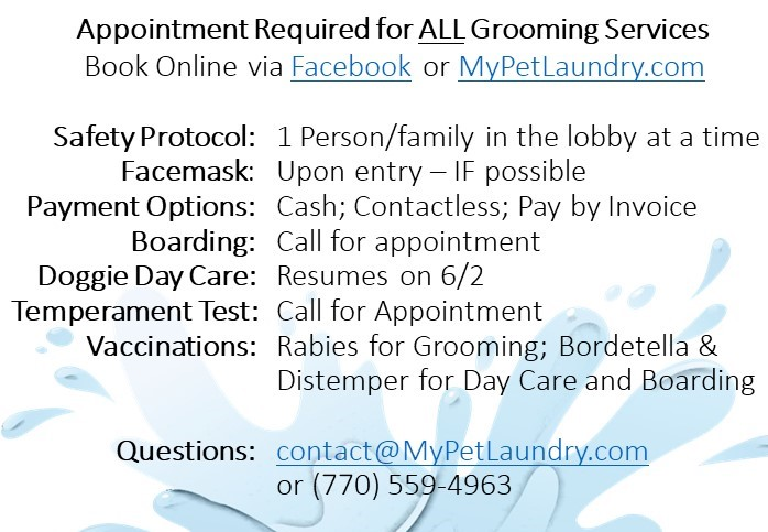 appointment required for all grooming - pandemic