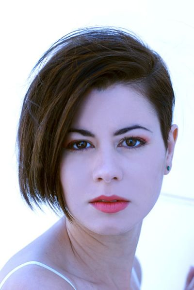 woman with short asymmetrical haircut