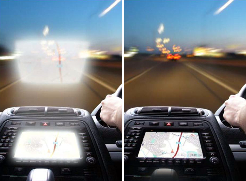 Anti-reflection filter on automotive displays